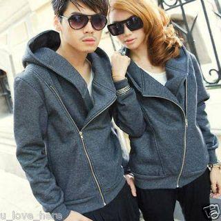 NEW Fashion Korean Mens Womens Zipper Hooded Coat Jacket Outerwear