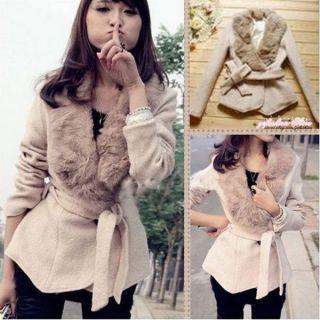 Fashion Korean Women Modish Woolen Collar Beige Irregular Hem Woolen