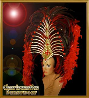 Red SAMBA CABARET CARNIVAL DRAG QUEEN DANCE Feather BOA HEADDRESS