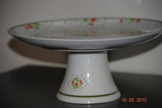 Vintage Porcelain Swiss Strawberry Dot Cake Plate Stand by ENESCO