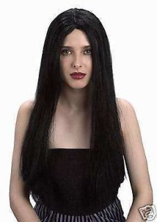 Morticia Long Black 24 inch Halloween Costume Party Wig