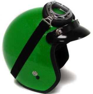 Metal flake Motorcycle Open Face Helmet Cafe Racer Vintage Green w