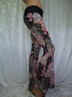 Thru Pink Floral Black/White Flare/Flared Legging/Pants Animal Print