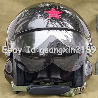 New Chinese Glossy Black Military Jet Flight Pilot Helmet All Sizes