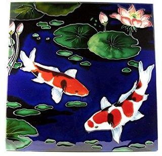 KOI Fish Art Tile ☆ Koi ☆ 12x12 High Fired Ceramic Wall Tabletop
