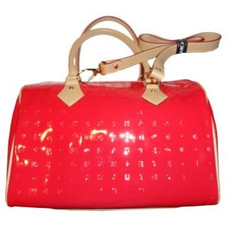 Womens Arcadia Patent Leather Purse Handbag Satchel Coral