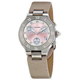 Cartier Womens W1020012 Chronoscaph Pink Sunburst Dial Watch Watches
