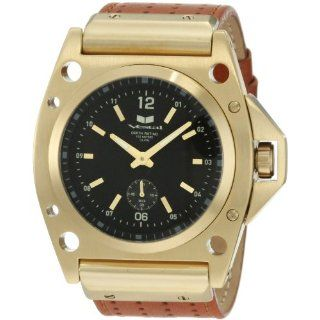 Vestal Mens DEC005 Decibel Gold With Tanned Brown Leather Watch