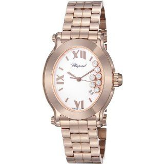 Chopard Happy Sport Oval Ladies White Diamond Dial Rose Gold Watch