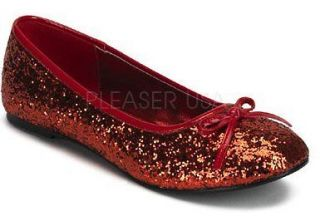 Funtasma Star 16 Red Glitter Ballet Flats Ruby Slippers Rockabilly