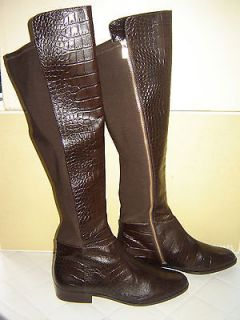 MICHAEL KORS BROWN CROCODILE LEATHER BROMLEY RIDING BOOTS NEW 5.5