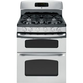 Shop GE 30 in 5 Burner 2.4 cu ft/4.3 cu ft Double Oven Convection Gas