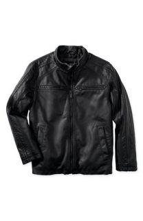 Black Rivet Faux Leather Jacket (Big Boys)