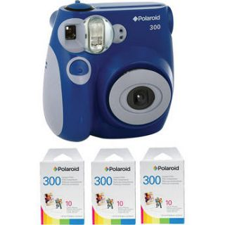 Polaroid 300 Instant Film Camera (Blue) with (3 pack) Instant Film Kit