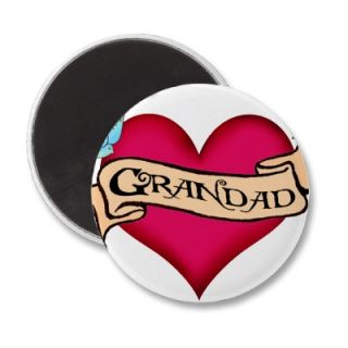 Grandad   Custom Heart Tattoo T shirts & Gifts Fridge Magnet from