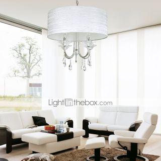 lustres de cristal elegantes com 4 luzes no cilindro de tecido sombra