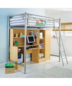 Buy Metal High Sleeper Bed Frame with Wardrobe and Desk at Argos.co.uk