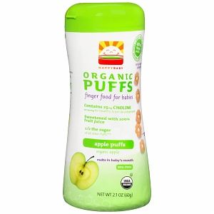 Happy Baby Organic Puffs Finger Food for Babies, Apple Puffs 2.1 oz