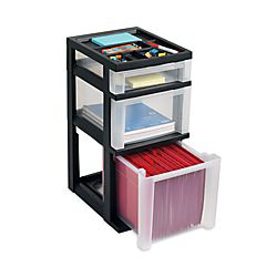 Office Depot Brand 3 Drawer File Cart BlackClear by Office Depot