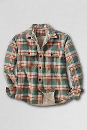 Lands End   Boys Sherpa lined Flannel Shirt Jacket