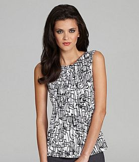 Calvin Klein Geo Line Print Sleeveless Blouse  Dillards