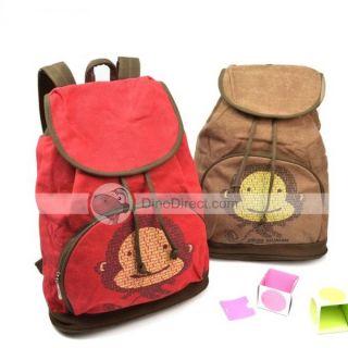 Wholesale Girls Fashion Exquisite Monkey Cartoon Cotton Backpacks