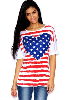 Home 000old products  Kim American Flag and Heart Print Top