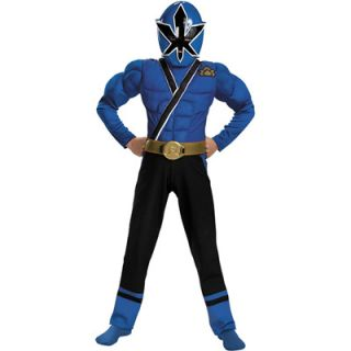 Power Rangers Samurai Blue Ranger Muscle Boys Costume   Size Small (4