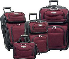 Travelers Choice Amsterdam TS 6950 4 Pc Travel Collection Red   Free
