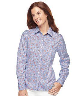 Wrinkle Resistant Cotton Poplin Shirt, Print Casual