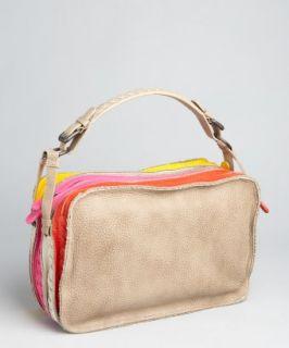 Bottega Veneta brown patchwork leather triple compartment shoulder bag