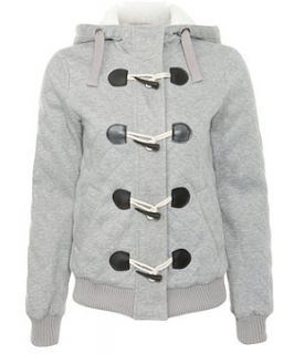 Mid Grey (Grey) Grey Quilted Jersey Hooded Jacket  260929907  New