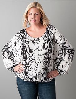 Plus Sized Animal Print Dolman Sweater by Seven7  Lane Bryant