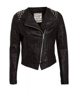 Black (Black) Black Studded Real Leather Biker Jacket  260106101