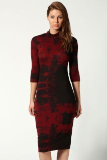 Sara 3/4 Sleeve High Neck Printed Bodycon Dress at boohoo