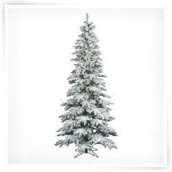 Vickerman 7.5 ft. Flocked Slim Utica Fir Dura Lit Christmas Tree