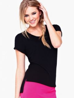 Love Label Dipped Back Short Sleeve Top   Black | Littlewoods