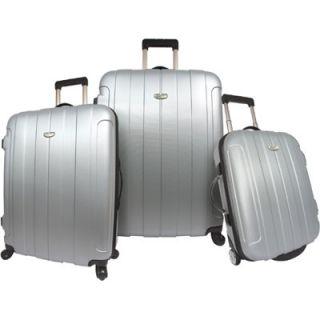 Travelers Choice Rome 3 Piece Luggage Set   Silver Grey (TC3900G