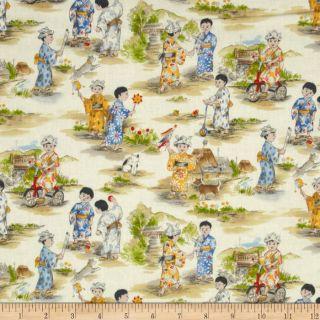 Michael Miller Asian Otokonoko Cream   Discount Designer Fabric