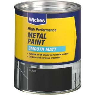 Smooth Matt Metal Paint Black 750ml   Metal Paint   Paint  Decorating