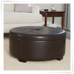 Corbett Coffee Table Storage Ottoman   Round #HN AA103