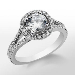 Monique Lhuillier Split Shank Halo Engagement Ring in Platinum  Blue