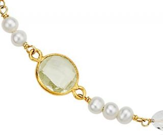 Collier en quartz blanc, quartz vert et perle deau douce de culture