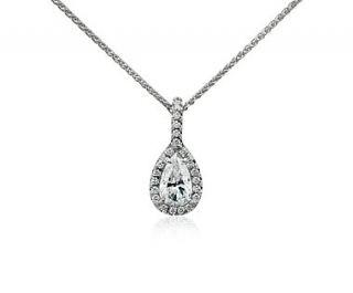 Pear Shape Halo Diamond Pendant in 18k White Gold  Blue Nile