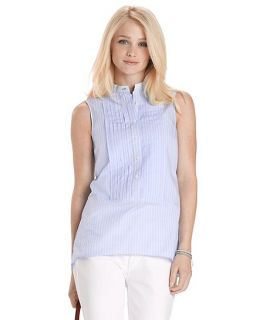 Cotton Sleeveless Stripe Blouse   Brooks Brothers