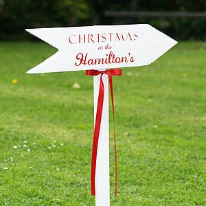 Personalised Christmas Wooden Sign Post   garden & outdoors