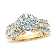 CT. T.W. Diamond Flower Collar Ring in 14K Gold   Zales