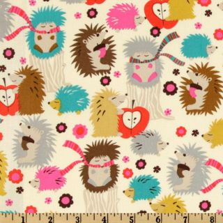 Michael Miller Hedgehog Meadow Cream   Discount Designer Fabric