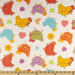 Cuddle Prints Flannel Chicks White   Discount Designer Fabric