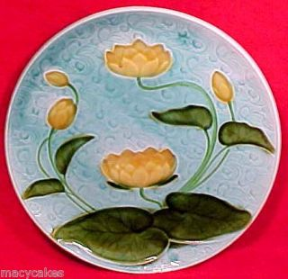 ANTIQUE GERMAN MAJOLICA Water Lily PLATE SCHRAMBERG c.1920, gm534